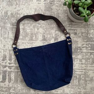 Genuine Leather retro old navy blue tote bag